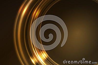 Gouden gloeiend frame van ronde ringssegmenten