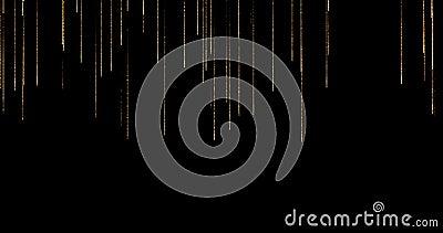 Gouden schitter de stroom van fonkelingsdeeltjes bokeh stromend van bovenkant en versla op zwarte achtergrond, gouden Kerstmis en stock video