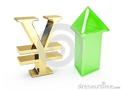 Gouden Yensymbool en op pijlen