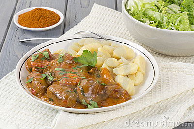 Goulash with Dumplings and Salad