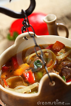 Goulash in the pot
