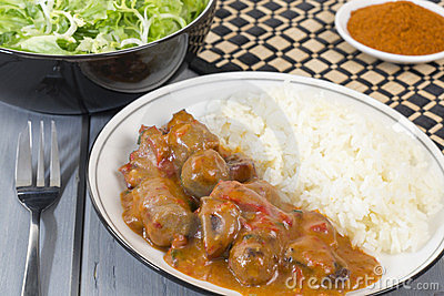 Goulash with White Rice and Salad