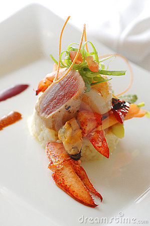 Gourmet appetizer with lobster and mussel