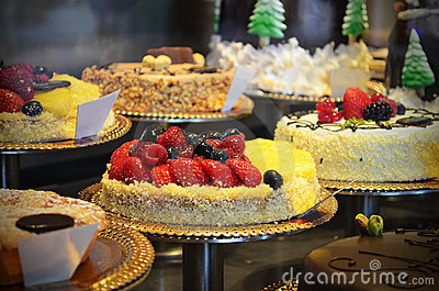 Gourmet cakes in a shop window