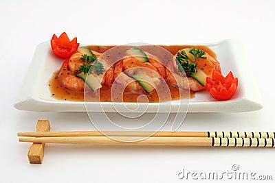 Gourmet chinese food - broiled king tiger prawns on white