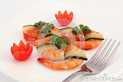 Gourmet chinese sushi food - broiled king tiger prawns on white