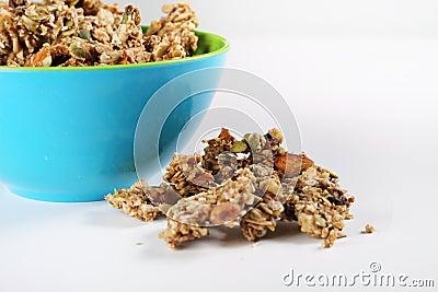 Gourmet granola in bowl on white