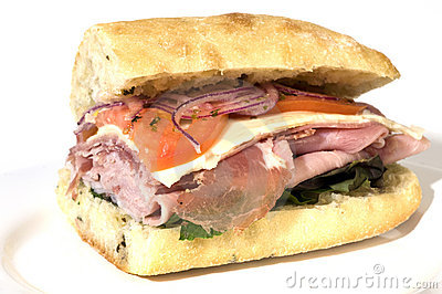Gourmet italian salami prosciutto sandwich