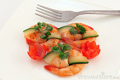 Gourmet Japanese food - broiled king tiger prawns on white