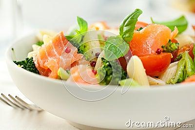 Gourmet Pasta Salad With Smoked Salmon Stock Photo - Image: 18554800