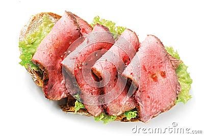 Gourmet rare roast beef sandwich