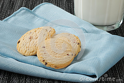 Cookies and milk on a napkin