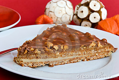 Gourmet swedish tart with roasted almonds and cap