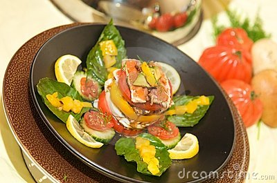 Gourmet tomato starter with mozzarella and basil