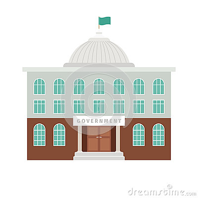 Government building with dome and flag Vector Illustration