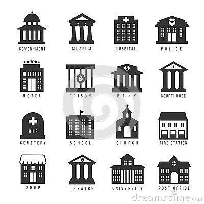 Government building icon set. Vector buildings like university, police office and city hall, hospital museum Vector Illustration