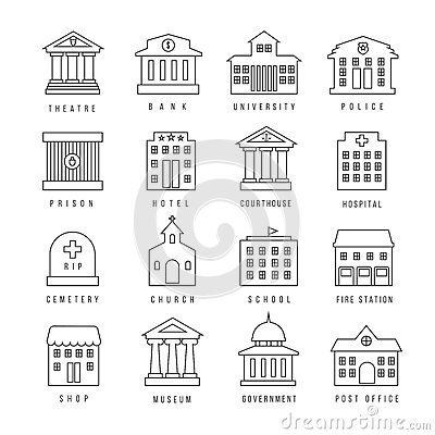 Government buildings lined signs. Firehouse and courthouse, library city bank outline icons Vector Illustration