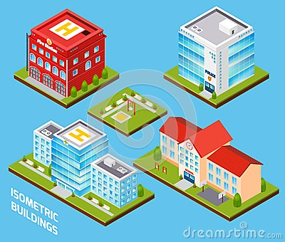Government Buildings Set Vector Illustration