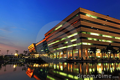 Government Complex at Dusk in Bangkok Thailand Editorial Stock Image
