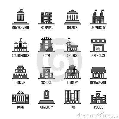Government, public building vector icons set Vector Illustration