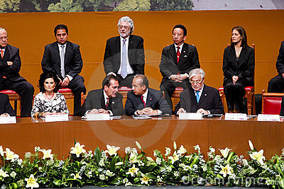 Governor of Aguascalientes an Mexico s President Editorial Image