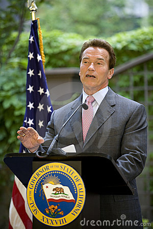 Governor Arnold Schwarzenegger speaking Editorial Stock Image