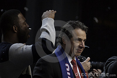 Governor Cuomo and Justin Tuck at the parade Editorial Stock Image