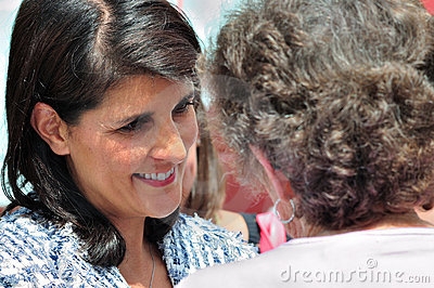 Governor Haley and Supporter Editorial Photography
