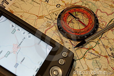 GPS and classic compass concept