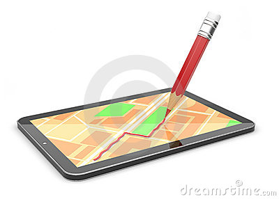 GPS mobile device 3d. lay a course. Isolated