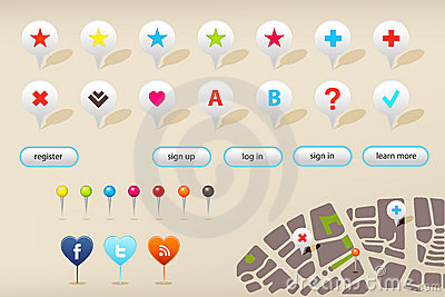 GPS Navigation Markers And Web Elements. Vector