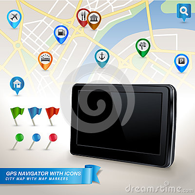 GPS navigator with city map and set of GPS icons