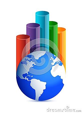 Gráfico de negócio do globo