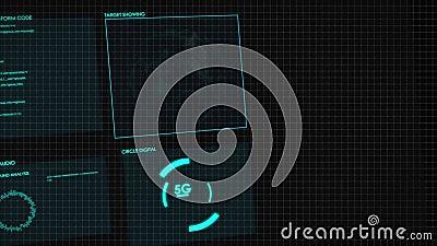 Gráfico HUD digital de pantalla 3D Interfaz de usuario futurista resplandece el texto digital GUI y el elemento número aleatorio  ilustración del vector