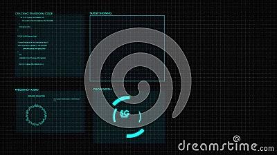 Gráfico HUD digital de pantalla 2D Interfaz de usuario futurista resplandece el texto digital GUI y el elemento número aleatorio  libre illustration