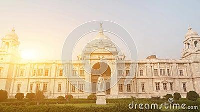 Gränsmärke som bygger Victoria Memorial i Indien stock video