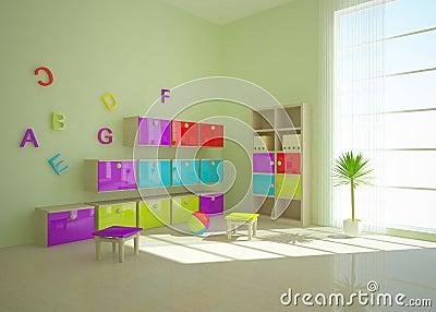 Grön interior för barn