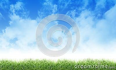 Grüne Eco Natur-Himmel-Wolken und Gras