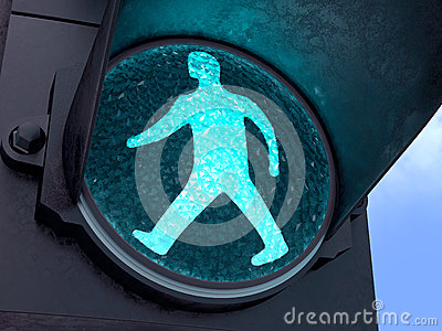 Grüne Fußgängerleuchte