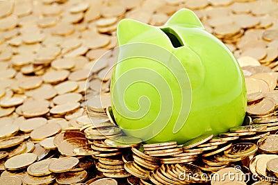 Grüne piggy Querneigung und Meer des Goldgeldes