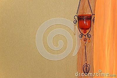 gr ne wand orange vorhang und orientalisches dekorelement stockfoto bild 53105993. Black Bedroom Furniture Sets. Home Design Ideas