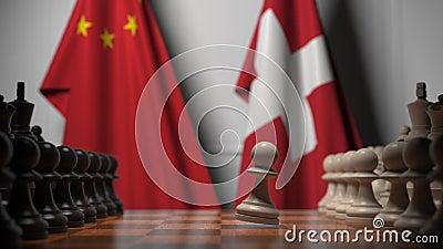 Gra szachowa pod flagami Chin i Szwajcarii Animacja 3D związana z rywalizacją polityczną zbiory
