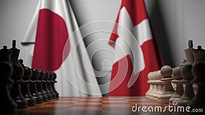 Gra szachowa pod flagami Japonii i Szwajcarii Animacja 3D związana z rywalizacją polityczną zbiory