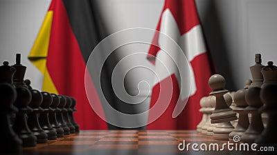 Gra szachowa pod flagami Niemiec i Szwajcarii Animacja 3D związana z rywalizacją polityczną zdjęcie wideo