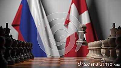 Gra szachowa pod flagami Rosji i Szwajcarii Animacja 3D związana z rywalizacją polityczną zbiory wideo