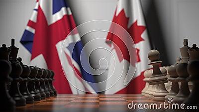 Gra szachowa pod flagami Wielkiej Brytanii i Kanady Animacja 3D związana z rywalizacją polityczną zbiory wideo