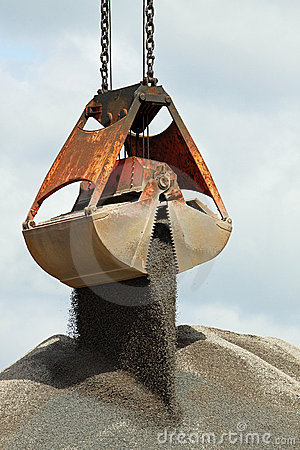 Grabber crane with aggragate Stock Photo