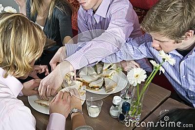 Grabbing sandwiches