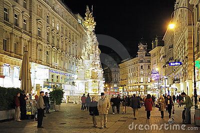 Graben street and the Plague Column in Vienna Editorial Photo