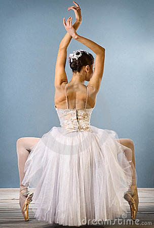 Graceful ballerina rear view